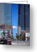 Cities Digital Art Greeting Cards - City Street Canyon Greeting Card by Steve Karol