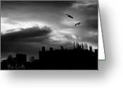 Silhouette Greeting Cards - City Sunset Greeting Card by Bob Orsillo