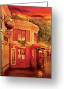 Evening Scenes Photo Greeting Cards - City - Vegas - Paris - Vins Detable Greeting Card by Mike Savad