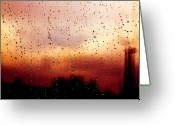 Glass Greeting Cards - City Window Greeting Card by Bob Orsillo