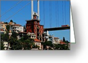 Sultan Greeting Cards - Cityscape 6 - Fatih Sultan Mehmet Bridge across the Bosphorus Greeting Card by Dean Harte