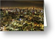 Aerial View Greeting Cards - Cityscape At Night Greeting Card by Agustin Rafael C. Reyes