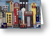 Quilt Collage Tapestries - Textiles Greeting Cards - Cityscape--Blue Greeting Card by Sue Gilliam