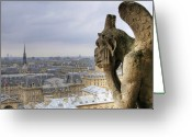 Notre Dame Greeting Cards - Cityscape From Notre Dame, Paris Greeting Card by Zens photo