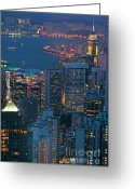 Peak One Greeting Cards - Cityscape from Victoria Peak Greeting Card by Sami Sarkis