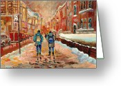 Montreal Street Life Greeting Cards - Cityscape In Winter Greeting Card by Carole Spandau