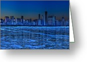 Lake Michigan Greeting Cards - Cityscape Greeting Card by Justin W. Kern