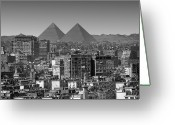 Middle East Greeting Cards - Cityscape Of Cairo, Pyramids, Egypt Greeting Card by Anik Messier