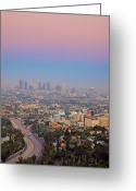 Los Angeles Greeting Cards - Cityscape Of Los Angeles Greeting Card by Eric Lo