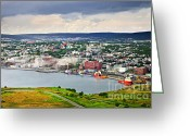 Signal Photo Greeting Cards - Cityscape of Saint Johns from Signal Hill Greeting Card by Elena Elisseeva