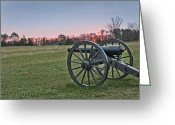 Canons Greeting Cards - Civil War Cannon at Sunrise - Manassas Battlefield - Virginia Greeting Card by Brendan Reals