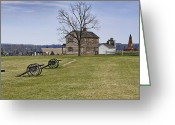 Canons Greeting Cards - Civil War Cannons and Henry House at Manassas Battlefield Park - Virginia Greeting Card by Brendan Reals