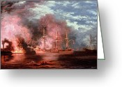 Aflame Greeting Cards - Civil War Engagement Greeting Card by Xanthus Russell Smith