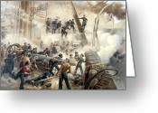 Navy Painting Greeting Cards - Civil War Naval Battle Greeting Card by War Is Hell Store