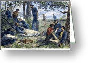 Commission Greeting Cards - Civil War: Wounded, 1864 Greeting Card by Granger