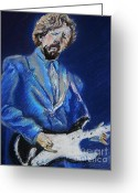 Guitar Pastels Greeting Cards - Clapton Jams Blue Greeting Card by Emily Michaud