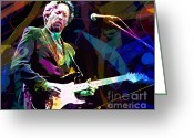 Yardbirds Greeting Cards - Clapton Live Greeting Card by David Lloyd Glover