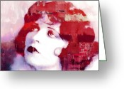 Twenties Greeting Cards - Clara Bow Greeting Card by Stefan Kuhn