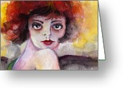 Ginette Fine Art Llc Ginette Callaway Greeting Cards - Clara Bow Vintage Movie Stars The It Girl Flappers Greeting Card by Ginette Fine Art LLC Ginette Callaway