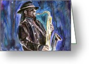 Springsteen Painting Greeting Cards - Clarence Clemons Greeting Card by Clara Sue Beym