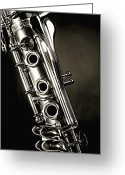 Still Life Greeting Card Greeting Cards - Clarinet Isolated in Black and White Greeting Card by M K  Miller