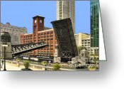 Passage Greeting Cards - Clark Street Bridge Chicago - A contrast in time Greeting Card by Christine Till
