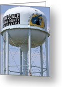 Mississippi County Greeting Cards - Clarksdale Water Tower Greeting Card by Karen Wagner