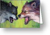 Outdoors Pastels Greeting Cards - Clash of the Alphas Greeting Card by Tanja Ware