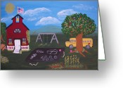 Schoolhouse Painting Greeting Cards - Class In Session Greeting Card by Cynthia Koch