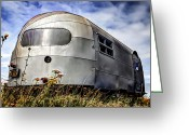 Campervan Greeting Cards - Classic Airstream caravan Greeting Card by Ian Hufton