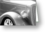 Monochrome Hot Rod Greeting Cards - Classic Black and White Car Front End Greeting Card by M K  Miller
