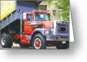 Vehicles Digital Art Greeting Cards - Classic Brockway Dump Truck Greeting Card by David Lane
