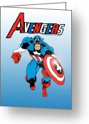 Captain America Greeting Cards - Classic Captain America Greeting Card by Mista Perez Cartoon Art