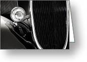 Monochrome Hot Rod Greeting Cards - Classic Car Grille Black and White Greeting Card by M K  Miller