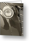 Monochrome Hot Rod Greeting Cards - Classic Car Headlight Greeting Card by M K  Miller