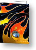 Chrome Grill Greeting Cards - Classic Flames Greeting Card by Perry Webster