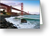 Building Tapestries Textiles Greeting Cards - Classic Golden Gate Bridge Greeting Card by Photo by Alex Zyuzikov