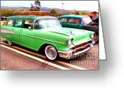 Vehicles Digital Art Greeting Cards - Classic Green Chevrolet Stationwagon . 7D15213 Greeting Card by Wingsdomain Art and Photography