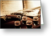 Arts Culture And Entertainment Greeting Cards - Classic Guitar Still Life With Notes Greeting Card by A Driempixel Photo
