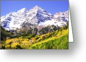 Colorado Mountains Greeting Cards - Classic Maroon Bells Greeting Card by Marilyn Hunt