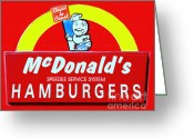 Welcome Signs Greeting Cards - Classic McDonalds Hamburgers - Billion Served - Painterly Greeting Card by Wingsdomain Art and Photography