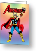 Thor Greeting Cards - Classic Mighty Thor Greeting Card by Mista Perez Cartoon Art
