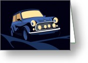 British Digital Art Greeting Cards - Classic Mini Cooper in Blue Greeting Card by Michael Tompsett
