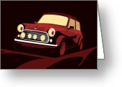 Red Greeting Cards - Classic Mini Cooper in Red Greeting Card by Michael Tompsett