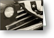 Monochrome Hot Rod Greeting Cards - Classic Monochrome Old Car Greeting Card by M K  Miller