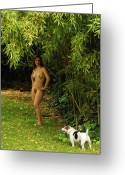 Dog Prints Greeting Cards - Classic Nude and Companion  Greeting Card by Harry Spitz