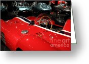 Dash Greeting Cards - Classic Red Ferrari Race Car . 7D1853 Greeting Card by Wingsdomain Art and Photography