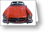 Mercedes Benz 300 Sl Classic Car Greeting Cards - Classic Red Mercedes Benz 300 SL Sports Car Convertible Poster Print Greeting Card by Keith Webber Jr