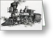 Trains Painting Greeting Cards - Classic Steam Greeting Card by James Williamson