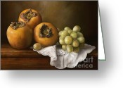 Persimmons Greeting Cards - Classic Still Life with Persimmons and Grape Greeting Card by Przemyslaw Brodka